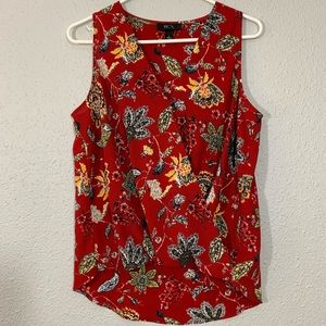 BCX. Red Floral Sleeveless High Low Blouse